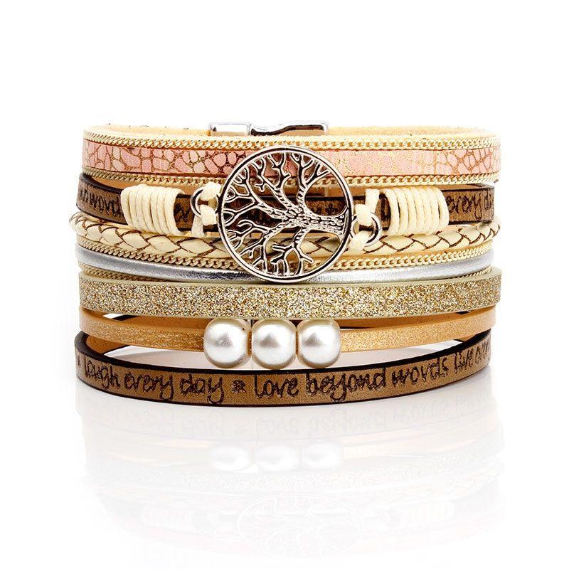 KMVEXO Summer Leather Bracelet Charm Pearls Bracelets&Bangles Magnet Buckle Life of Trees Bohemian Bracelets for Women Manchette