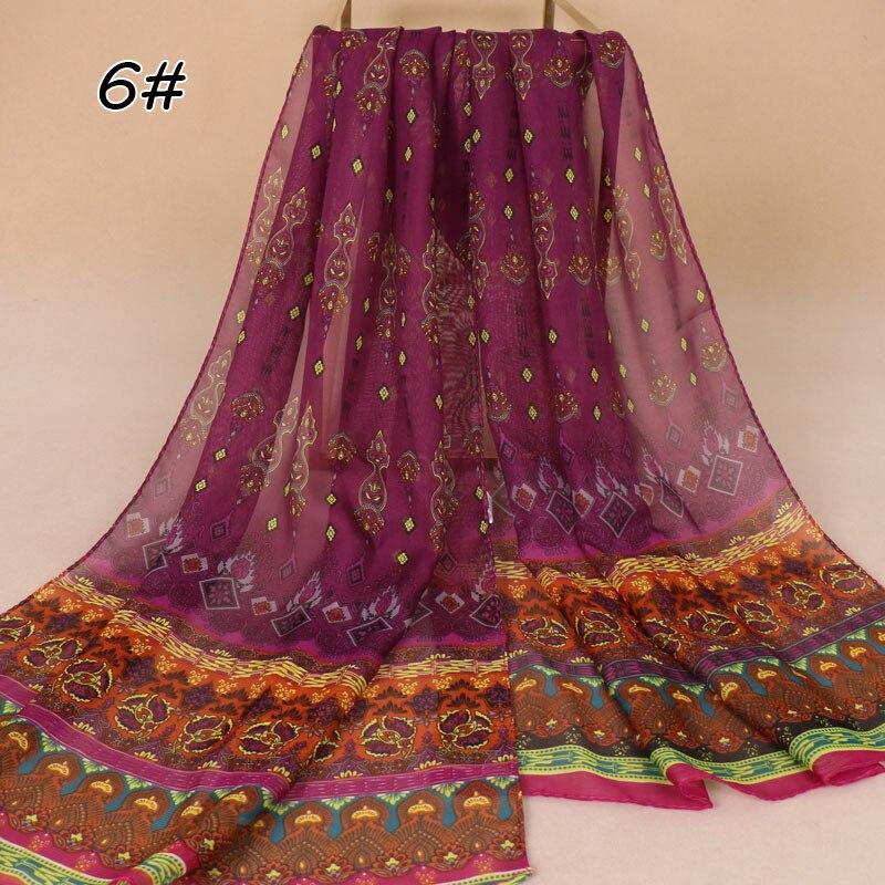 India Bohemian Chiffon Scarf Women Muslim Hijab Print Scarves Small Size Beach Flower Shawl Wrap Islamic Ethnic Bandana 160*48cm