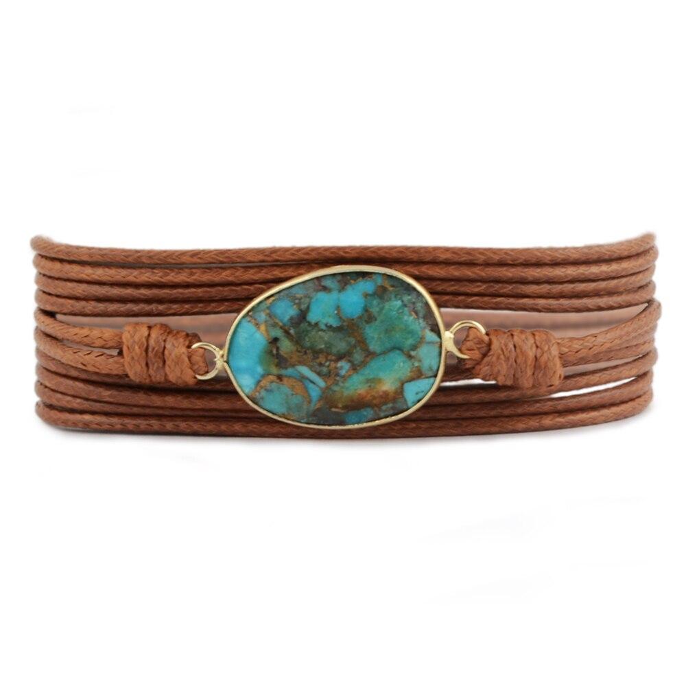 Black Copper Turquoises Bracelet For Women Men Friendship Bracelet Non-leather Wrap Bracelet Adjustable Bohemian Bracelet