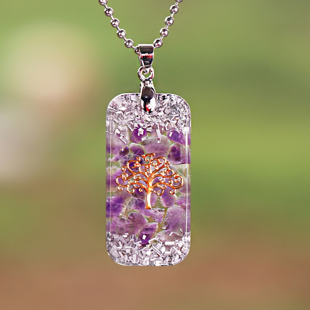 Life Of Tree Healing Orgonite Necklace Natural Crystal Reiki  Energy Balance Pendant Necklace Jewelry