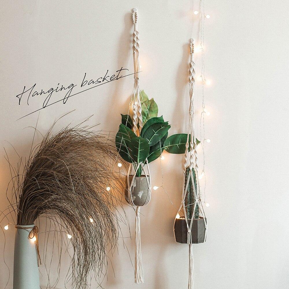 2 Pack Macrame Plant Hangers Cotton Room Decoration Hanging Baskets Flowerpot Net Plant Hanger Flowerpot Holder Basket