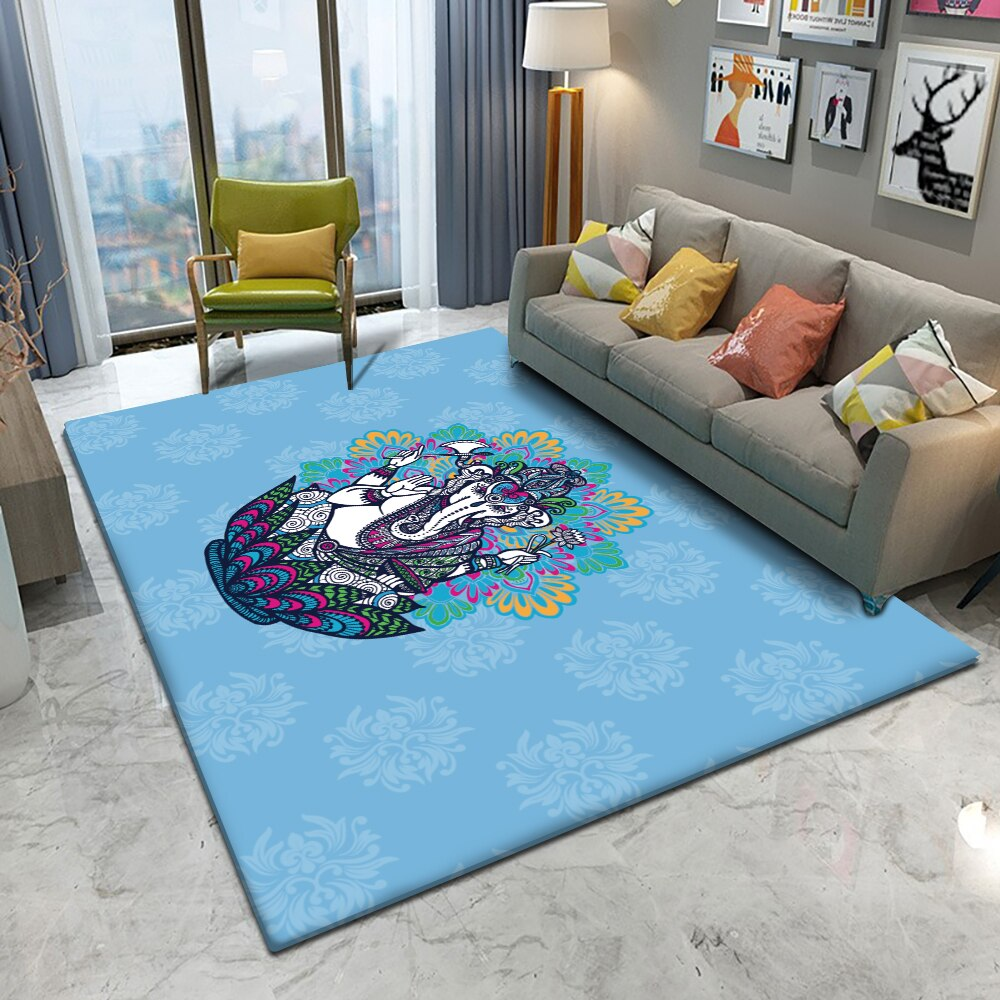 Fashionable Bohemian Style Mandala Pattern Carpet Non-slip Bath Mat Soft Fluffy Flannel Living Room Bedroom Decorative Carpet