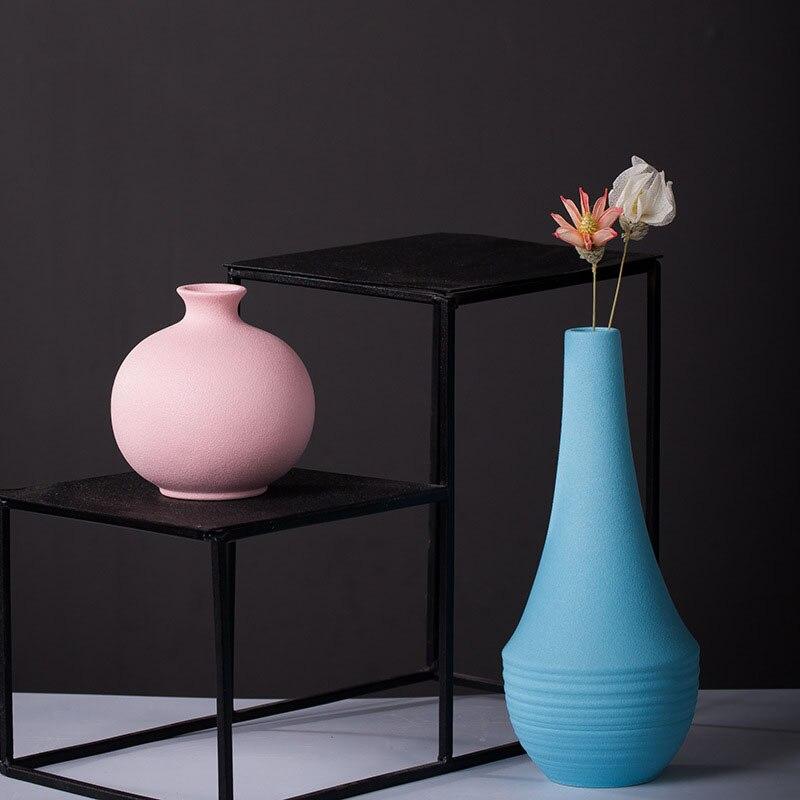 Wholesale Promotion Ceramic Flower Vase Mini Colorful Planter Flower Aarrangement Home Decoration Ornament Bookcase Decor Vases