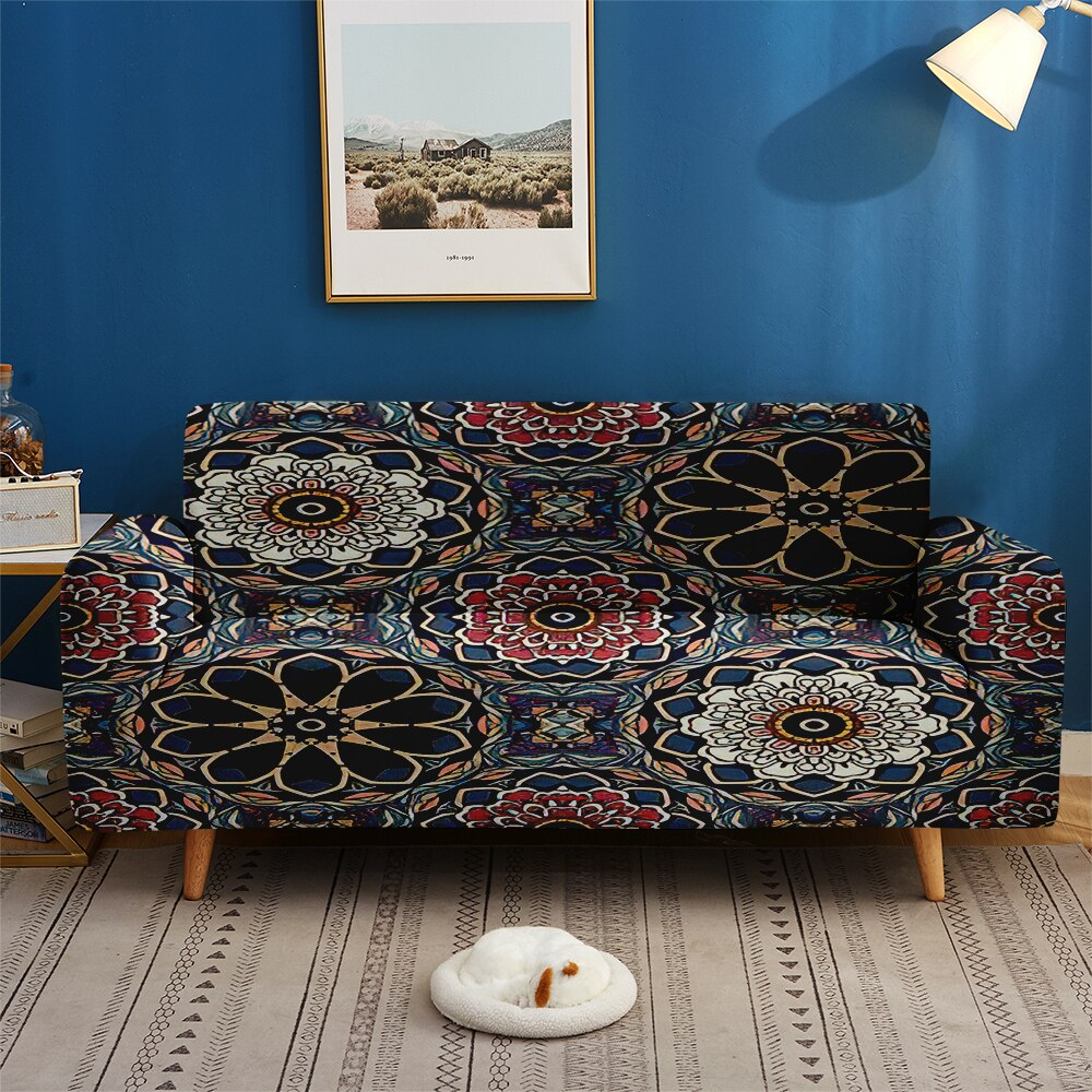 Eastern Europe Bohemian Style Mandala Slipcovers 1/2/3/4-Seater Elastic Couch Sofa Chair Cover for Living Room Home Decor