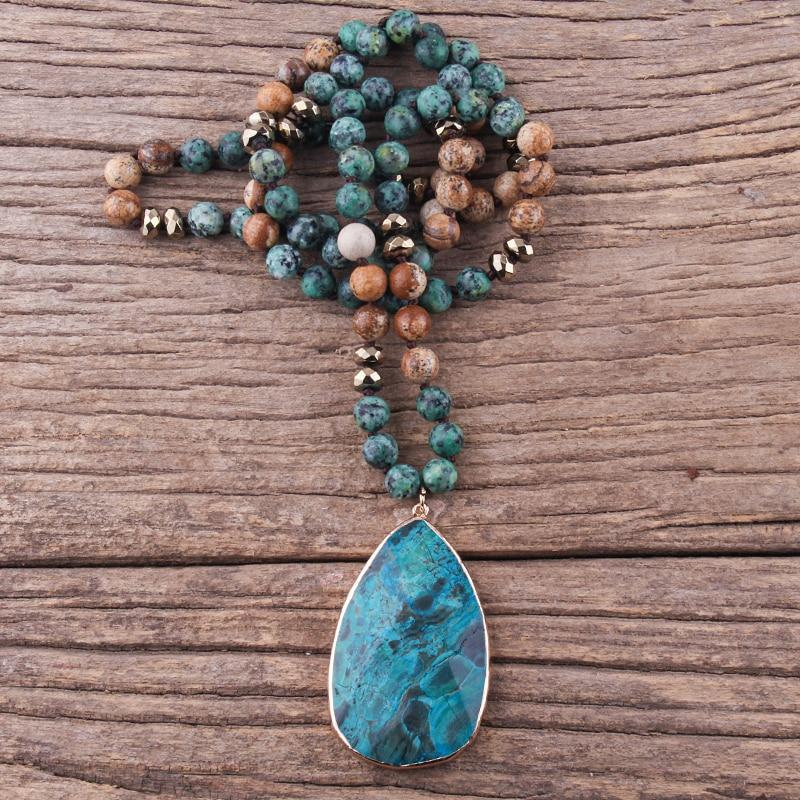 RH Fashion Boho Jewelry Natural Stones With Semi Precious Pendant Women Bohemia Necklace Gift Dropship