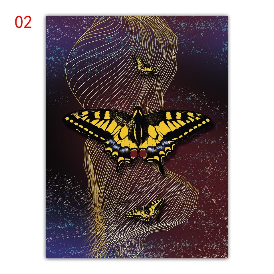 Color butterfly Leaf Poster Motivational Wall Art butterfly Nordic Style Painting Decoration Picture Room Home Decor